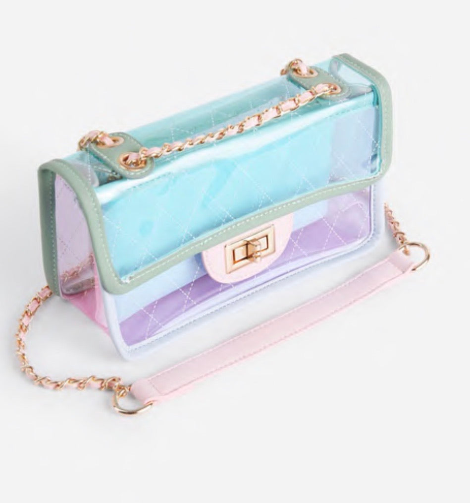 Icon Clear Chain Shoulder Bag- Blue