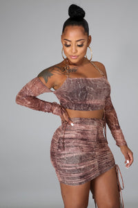 Tell Him No Skirt Set- Brown