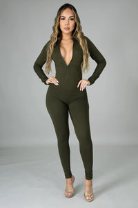 Simple Chic Jumpsuit- Olive