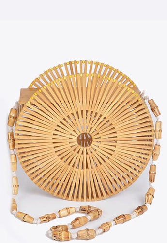 Bamboo Wheel Clutch W/Strap- Natural