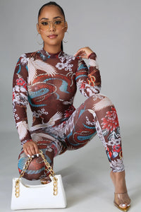 Tatted Dragon Jumpsuit- Multi
