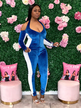 Pace Yourself Velvet Jumpsuit- Royal Blue