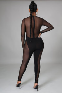 I Dare You Sheer Jumpsuit- Black