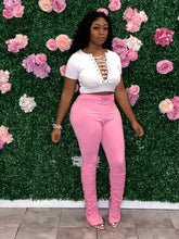 High Waist Ruching Pants- Pink