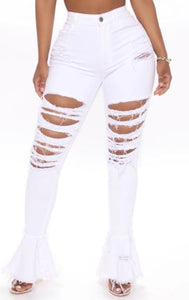 Killing 'Em Softly High Rise Destroyed Flare Jeans- White