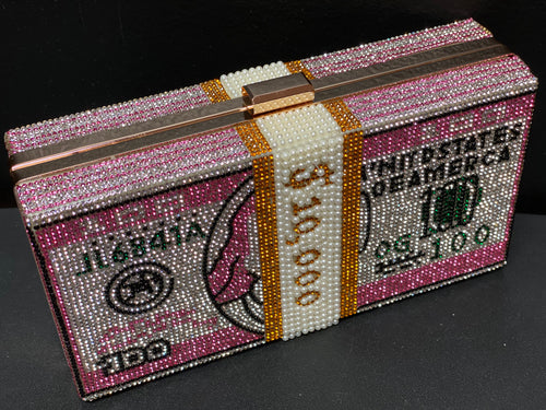 Rhinestone Cash Dollar Clutch- Pink Multi