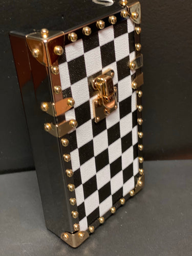 Checkers Chic Clutch- Black/White