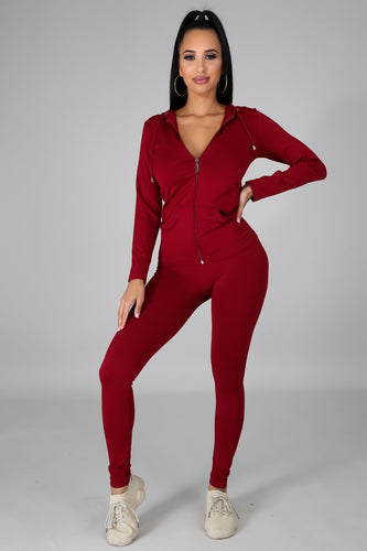 Pretty Luxechic Tracksuit- Burgundy