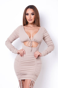 When The Beat Drops Mini Dress- Taupe