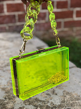 Clear Glass Clutch- Lime