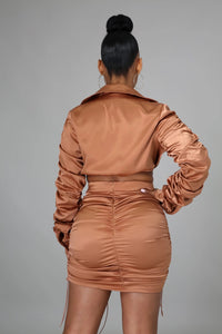 Sexy Satin Ruched Skirt Set- Brown