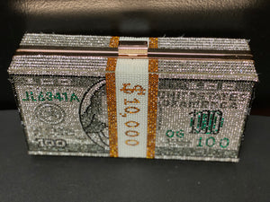 Rhinestone Cash Dollar Clutch- Gray