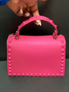 Fashion Monotone Studded Clutch- Pink