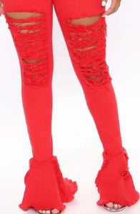 Killing 'Em Softly High Rise Destroyed Flare Jeans- Red