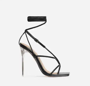 True Square Toe Lace Up Clear Heel- Black Leather