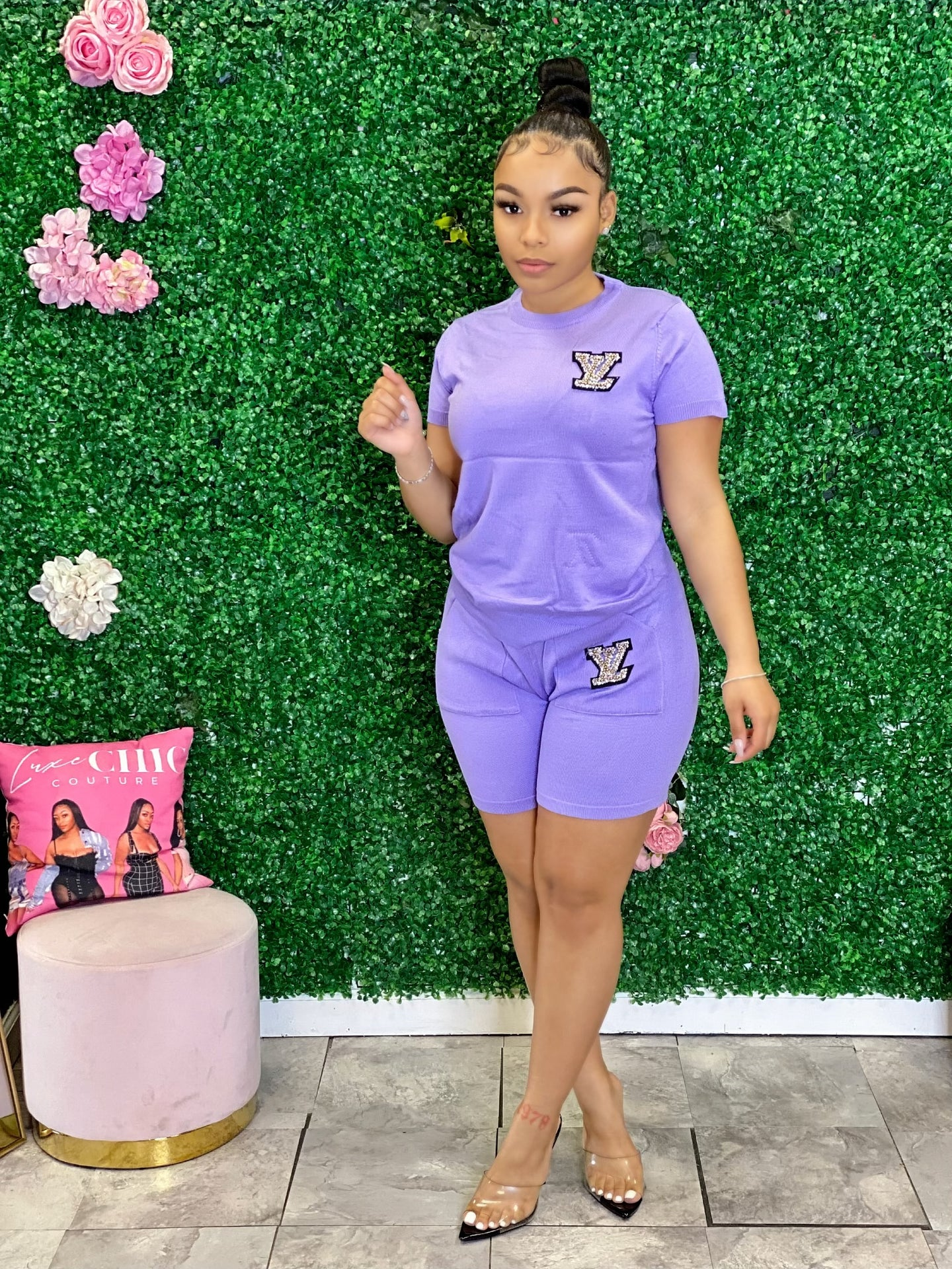 LV Shorts Set- Lavender