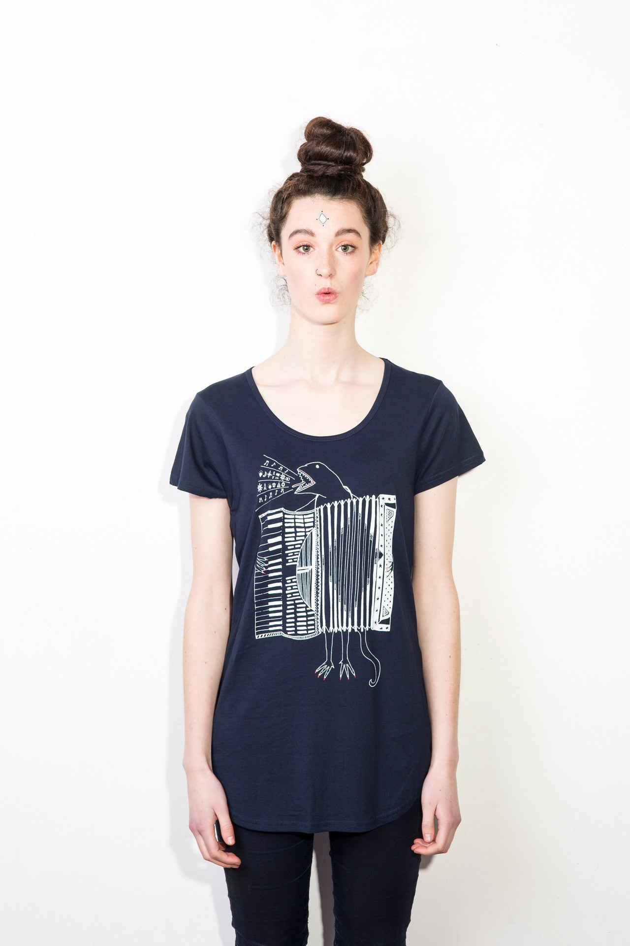 The Accordion of Unexpected Fortunes Women's Tee, Navy
