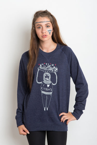 I Heart Kittens Unisex Royal Sweatshirt