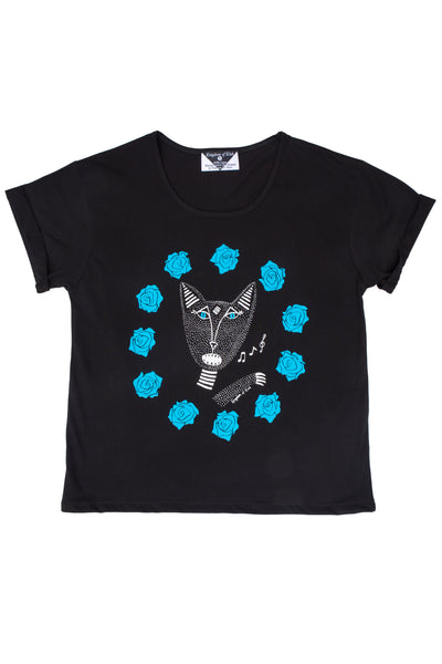 Native Singing Cat Women's Baroness Tee, Cerulean Blue