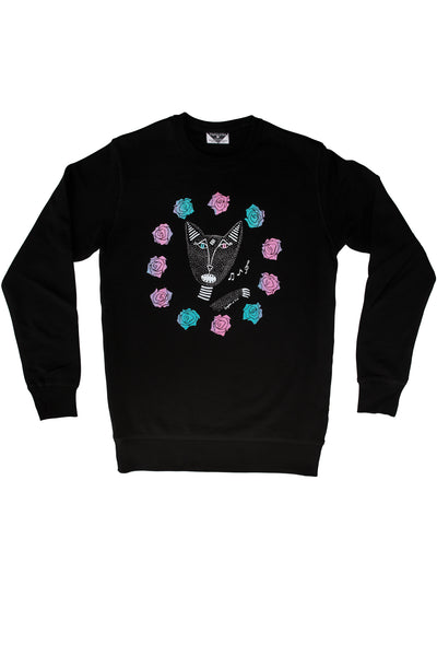 Native Singing Cats Royal Sweatshirt, Pink/Green Metallic