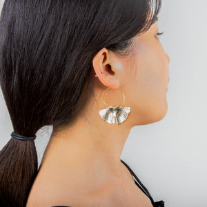 Abstract Plate Hoop Earrings