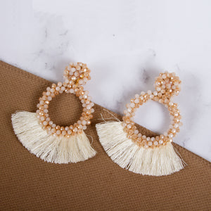Beaded Drop Fan Earrings