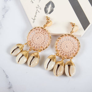 Cowrie Shell Hollow Drop Earrings