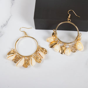 Cowrie Shell Hoop Drop Earrings