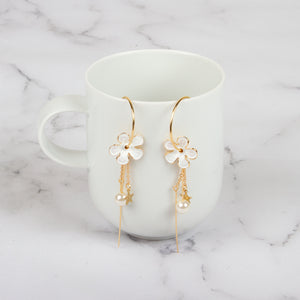 Floral Bar Hoop Drop Earrings