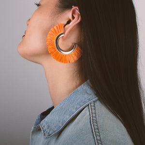 Hammered Hoop Fringe Earrings
