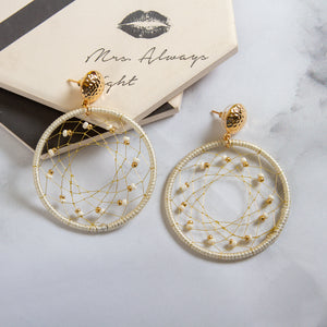 Hollow Threaded Hoop Drop Earrings