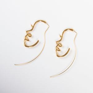 Hollowed Face Drop Earrings