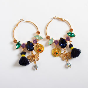 Multi Charm Hoop Earrings