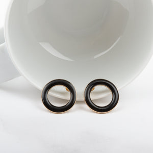 Open Ring Stud Earrings
