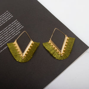 Rhombus Tassel Hoop Earrings