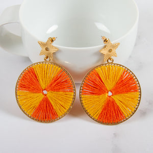 Threaded Wheel Drop Earrings