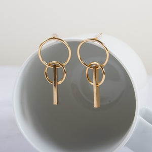 Tiered Hoop and Bar Drop Earrings