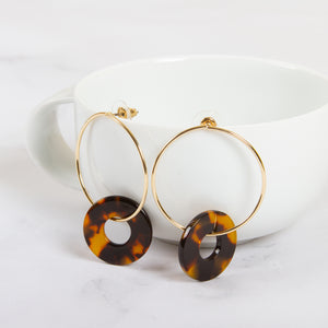 Tortoise Shell Ring Hoop Earrings