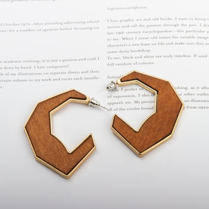 Wooden Geo Drop Earrings