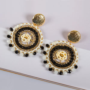 Woven Disc Drop Earrings