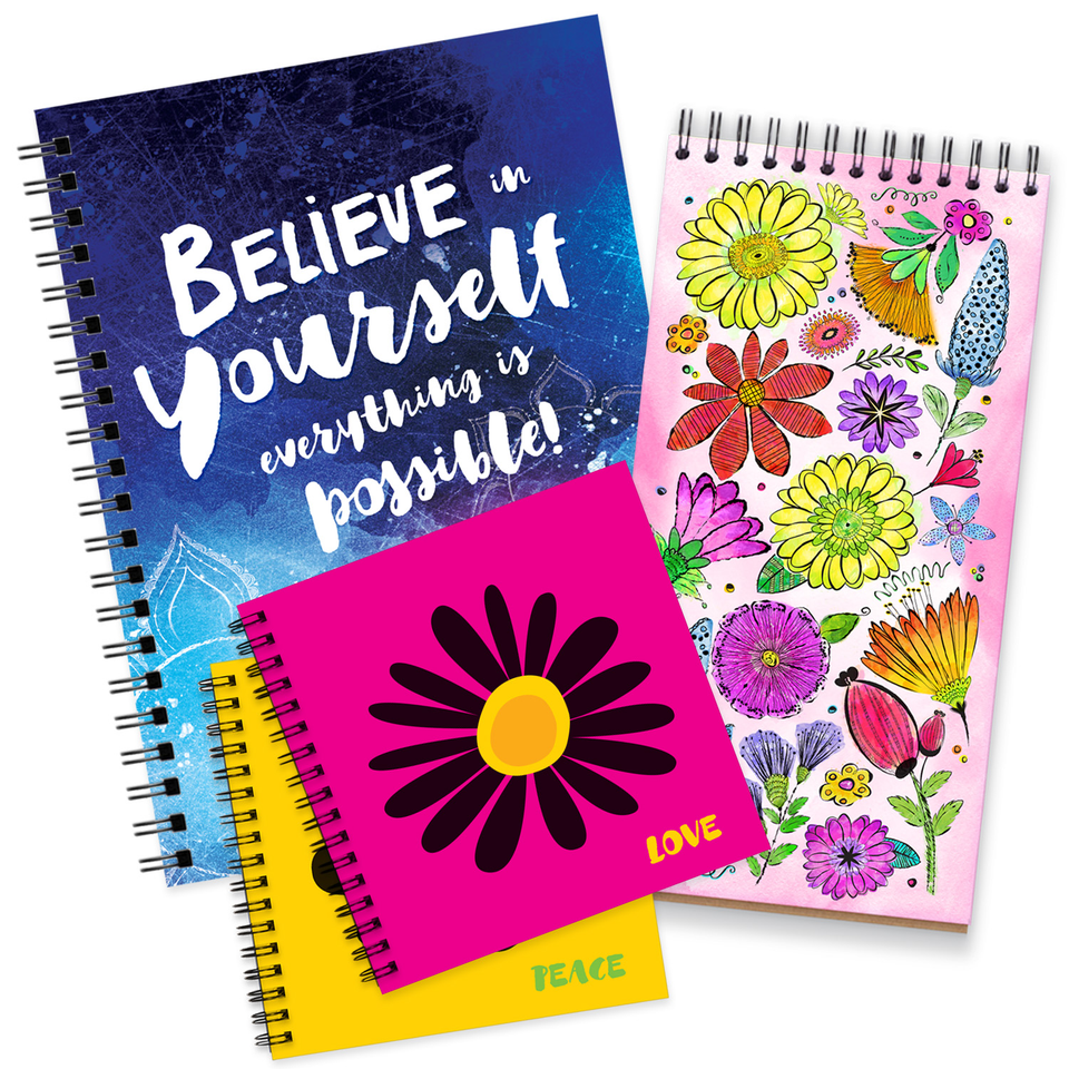 Spiral Notebooks with Blank Pages | Large, Medium, Small Size Books