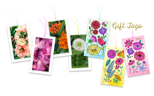 Garden Flower Blooms and Watercolor Flower Gift tags