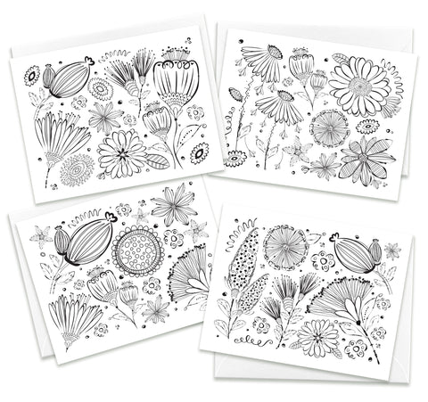 Color Me Beautiful Greeting Card Assortment | Set of 4 Ready to Color Cards