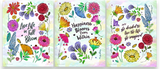 Set of three Watercolor Wildflower Pattern Inspirational Quotes