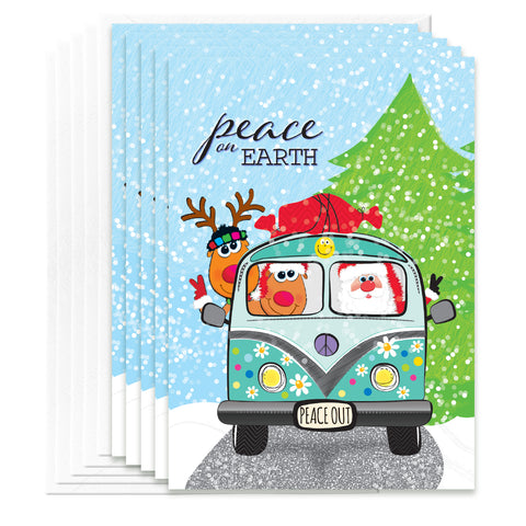 5 PACK Christmas Cards Peace On Earth Greeting Card, A7 Christmas Card