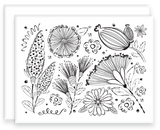 Wildflower Pattern Greeting Cards Ready to Color with Envelopes