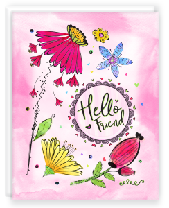 A2 Note Card with Blank Interior with Envelope Hello Friend