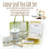 Gourmet Loose Leaf Gift Set in Fabric Bag with Honey Sticks, Spoon and Strainer  Edit alt text