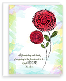 Zen quote with a happy flower on a watercolor note cards with a blank inside assortment