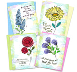 Inspired Watercolor Flowers Greeting Cards  | Inspirational | 4 Assorted